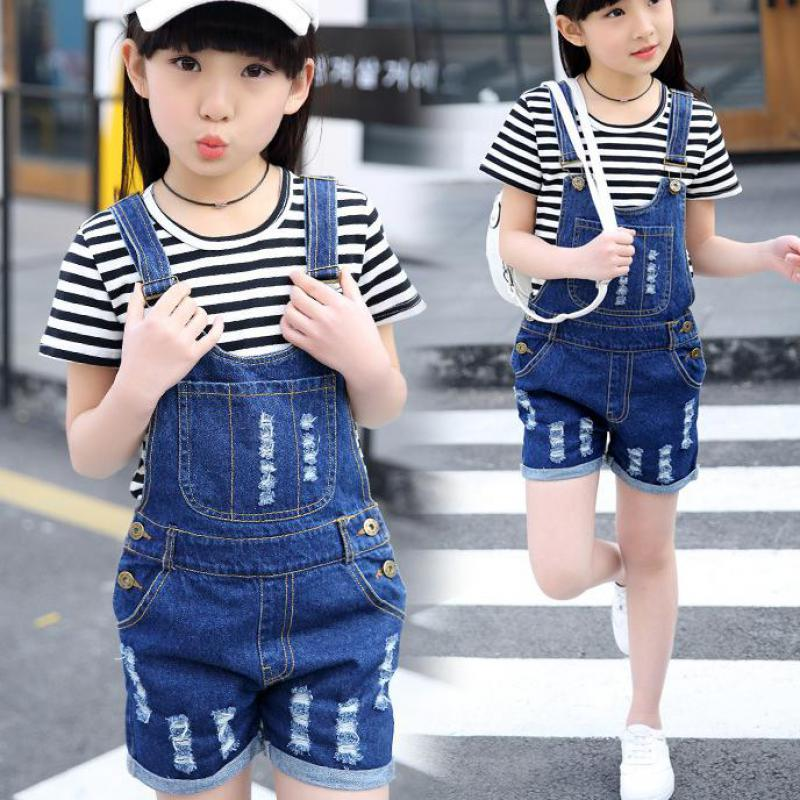 2018 New Summer Costume Big Girls Overalls Kids Jeans Pants For Girls Clothing Sets Children's Jumpsuits + White T-shirts 10 12 summer men s casual loose denim jumpsuits overalls bib pants light blue cargo pants plus size gardener capris size xs 5xl