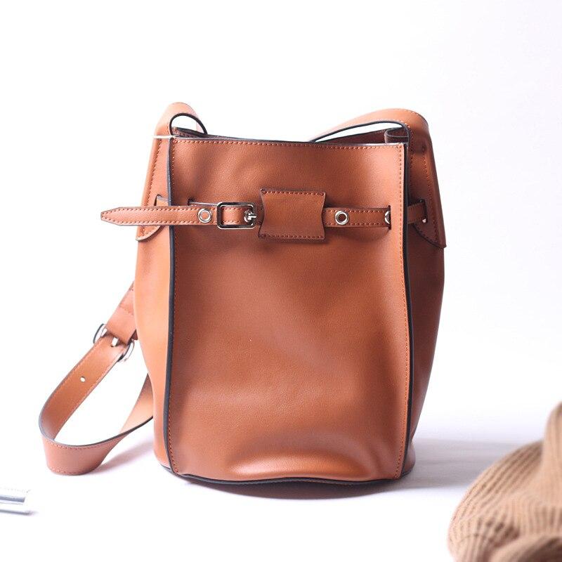 NEW Genuine Leather Women Handbags Top Layer Cowhide Bucket Bags High Quality Brands Designer Ladies Shoulder Bags Crossbody bag
