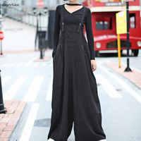 Black Overalls 2018 Women Loose Trousers Oversize Pant Wide Leg Pants Plus Size Trousers Korean Style pants Black LT495S50