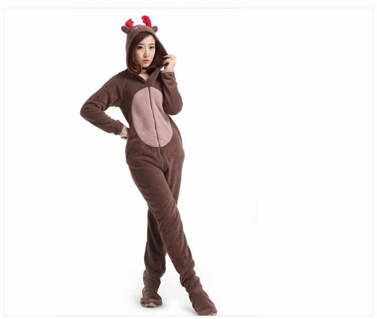 aa4f14ab8dc1 ... Christmas Deer Fleece Cotton Adult Unisex Footed Pajamas Sleepsuit pajamas  adult onesie
