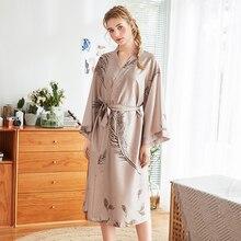 Casual Female Home Wear Nightgown Summer Kimono Bathrobe Sexy Bride Wedding Robe Printed Flower Satin Sleepwear Sleep Dress