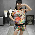 YONO New Fashion Women T Shirt Set Summer Clothes Casual Short Sleeve Floral Print Jogger Shirt+Shorts 2 Pcs Suit Hot Plus Size