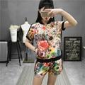 YONO New Fashion Women T Shirt Set Summer Clothes Casual Short Sleeve Floral Print Jogger Shirt+Shorts 2 Pcs Suit Hot Plus Size