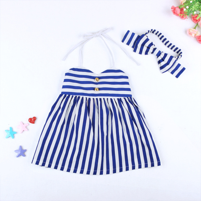 32a979209039 Children Girl Kids Princess Party Blue White Striped Dress + Headband Set  Toddler Baby Girls Wear Children Summer Clothes-in Dresses from Mother &  Kids on ...