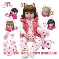 Bebes reborn boneca 48cm silicone reborn boneca adorável lifelike criança bonecas menina de surprice boneca com as mãos abertas