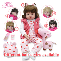 bebe doll reborn 48cm Silicone reborn baby doll adorable Lifelike toddler Bonecas girl menina de surprice doll with hands open