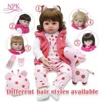 bebes reborn doll 48cm Silicone reborn baby doll adorable Lifelike toddler Bonecas girl menina de surprice doll with hands open
