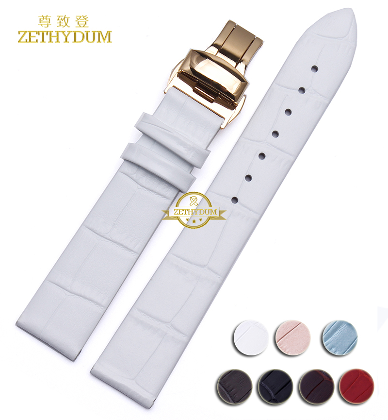 Thin Genuine leather watchband women watch strap butterfly clasp 12mm 14mm 16mm 18mm 20mm wristwatches band bracelet leather the golden butterfly leather leather watchband leisurely bracelet watch with 20mm common men and women