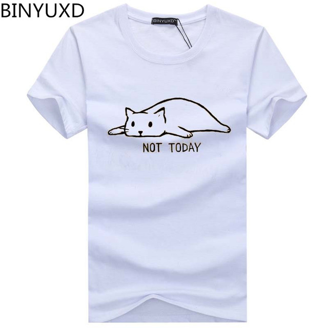 BINYUXD 2019 אופנה לא היום היפ הופ גברים של חולצה קצר שרוול סביב צוואר מצחיק Hipster חתול עצלן מודפס חולצות tees