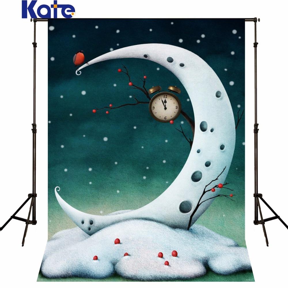 Kate Christmas Backdrop photography the Moon Bird photo backdrops fotografia Alarm Clock Photography Background Christmas Sd-080