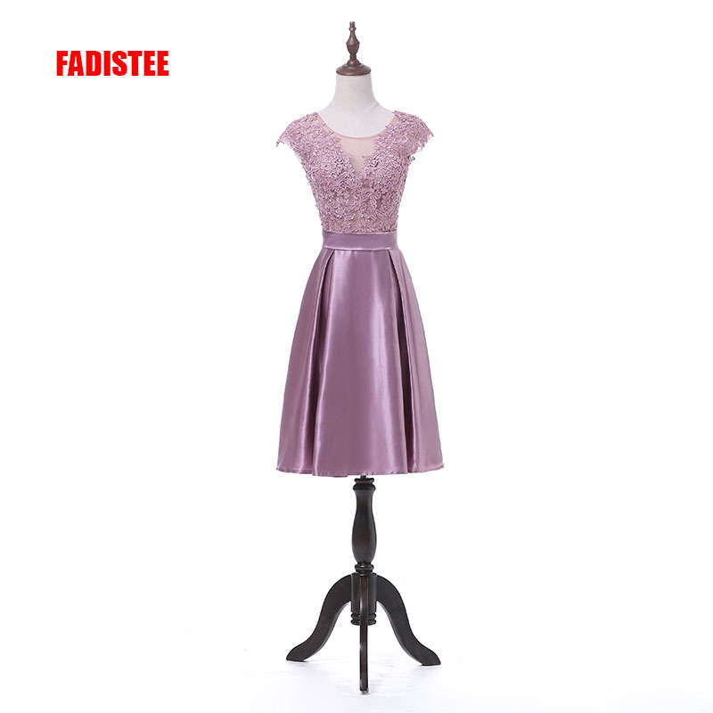 New arrival elegant party appliques   dress     cocktail     dresses   Vestido de Festa satin A-line simple short style   dresses