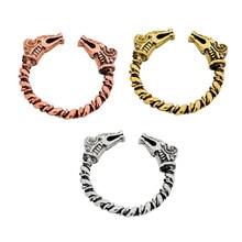 552eea0d9a2e Simbólico fuerza Viking anillo con cabezas de dragón abierto trenzado 3  color anillo nórdica escandinavo joyería Vikings joyería