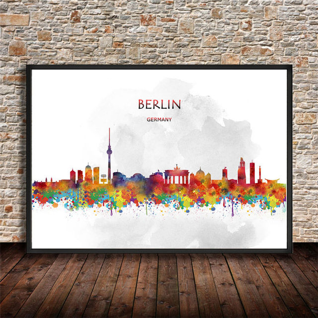 Abstract city painting berlin germany canvas watercolor art print poster wall sticker living room cafe bar