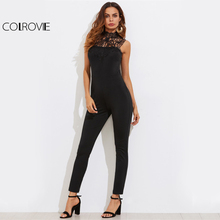 COLROVIE Vintage Lace Open Back High Neck Tailored Jumpsuit/ Catsuit