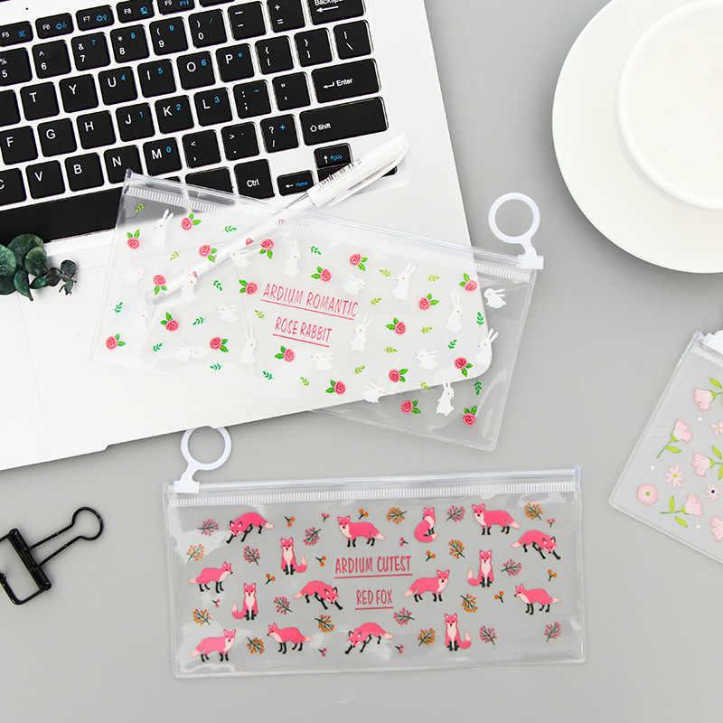 かわいい透明花動物パターン鉛筆バッグ PVC 防水ペンケースポーチかわいいボックス文具、学校事務用品