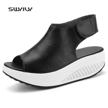 Summer Fish Mouth Women Toning Shoes Suelas Gruesas Wedge Plataforma Swing Sneakers Hook-loop Mujeres Zapatos que adelgazan