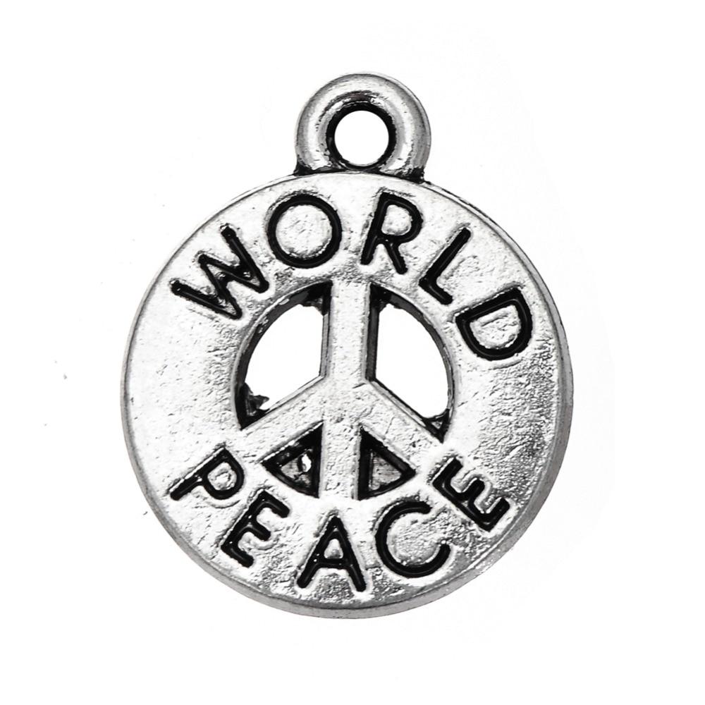 my shape 40pcs Engraved World Peace Charm Anti-War Sign Charm Jewelry