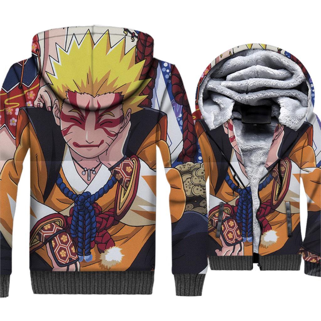 2019 winer Thick swag coats Anime Uzumaki Naruto sweatshirt men zipper wool liner jackets funny 3D Printed brand tracksuits male