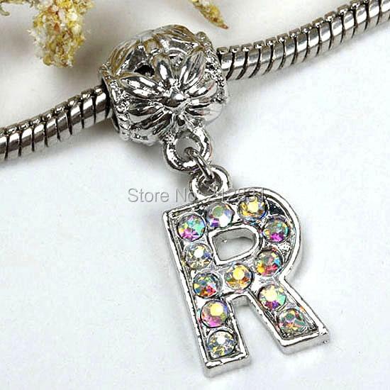 sale 20 pcs ab crystal alphabet rhinestone letter r charms pendants european beads fits bracelet diy