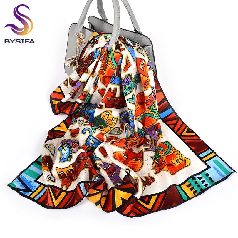 [BYSIFA] Cartoon Cat White Scarves Fashion Brand 100% Silk Scarf Shawl Printed Fall Winter Top Grade Women Scarves Wraps 88*88cm