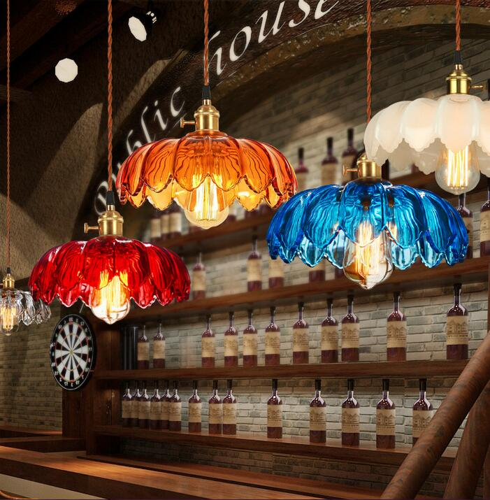 Color glass head Republic of China Industrial retro personalized creative coffee shop lotus new Chinese Chandelier FG675 LU1011 vintage clothing store personalized art chandelier chandelier edison the heavenly maids scatter blossoms tiny cages