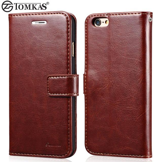 Superbe Étui – Portefeuille de luxe en cuir pour iPhone 6 6 S/6 6 S de marque TOMKAS