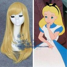 Alice au pays des merveilles Alice jaune doré Cosplay perruque droite longue cheveux synthétiques déguisement fête Halloween fête perruques + perruque casquette