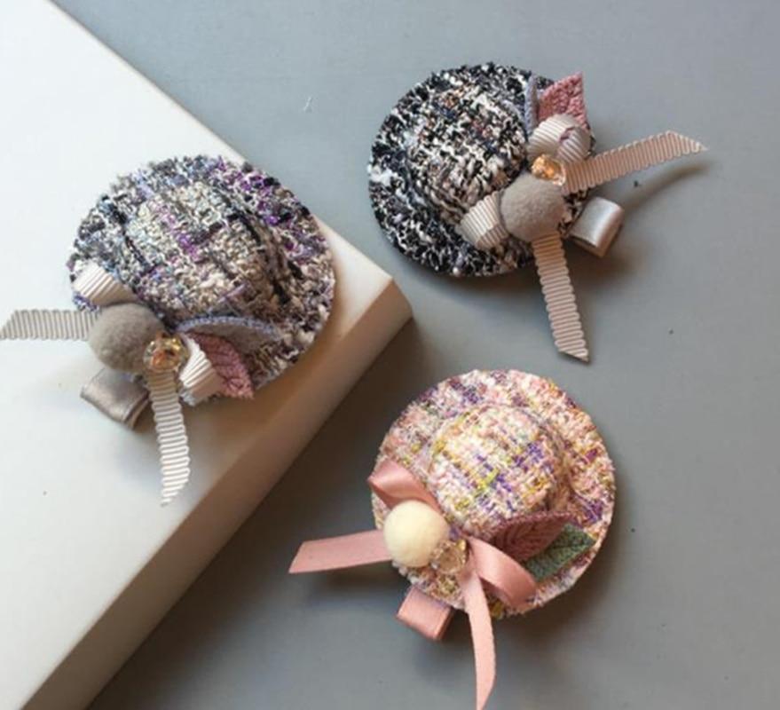 New Boutique elegance Handmade Hair Accessories Girls Solid hat hair clips kids princess hairpins barrettes J30