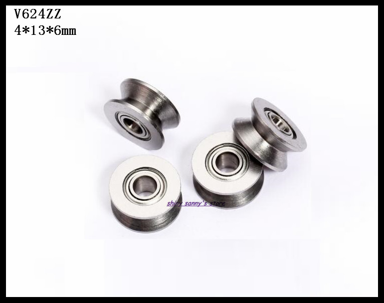 10PCS V624ZZ Sealed Ball Bearings Metal Roller V Groove Guide Pulley 4x13x6mm wp
