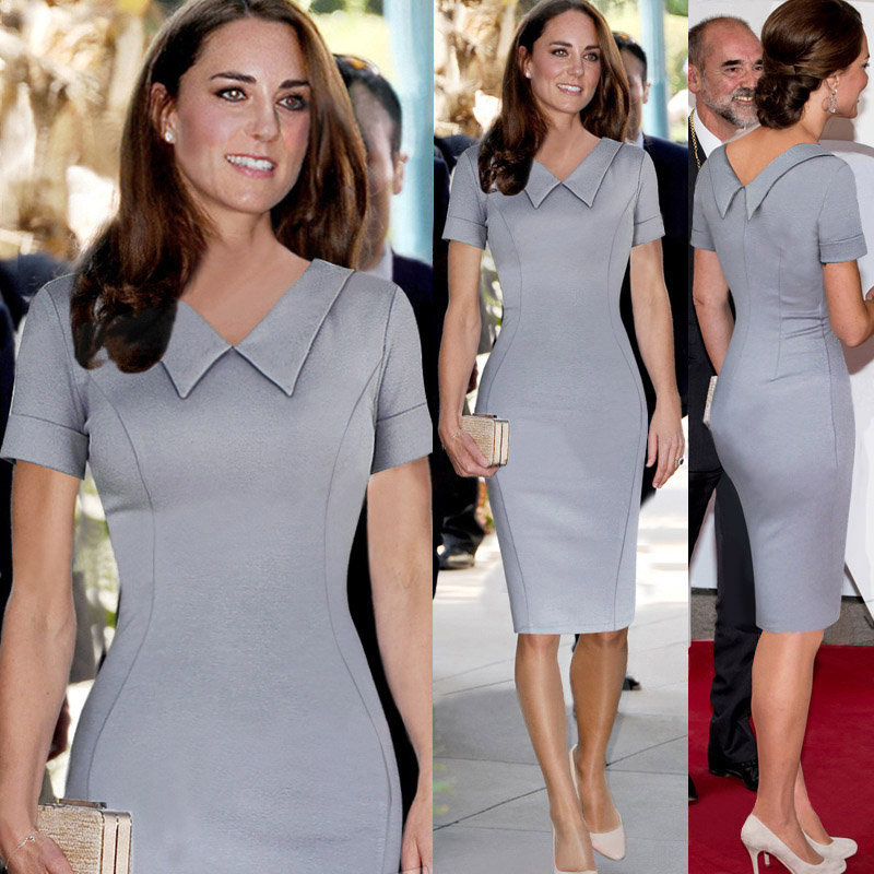 Catherine <font><b>Elizabeth</b></font> Middleton Princess Kate Pencil <font><b>Dress</b></font> Women Elegant Celebrity Peter Pan Collar Short Sleeve Work Office <font><b>Dress</b></font>