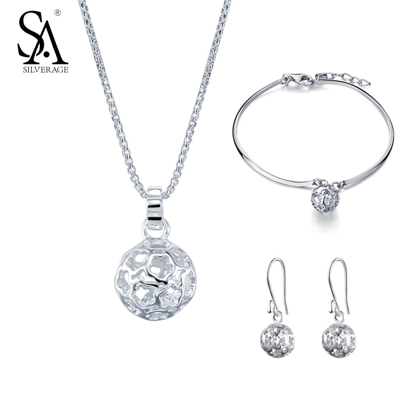 SA SILVERAGE 925 Sterling Silver Set Jewelry Women Ball Pendant Necklace And Earrings Bracelet Set Pure Silver Wedding Gift 2018 все цены