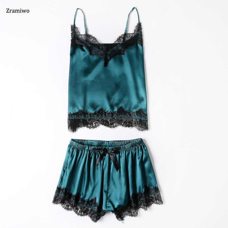 37191595dd47 Атласная одежда для сна кружево нарядная Пижама комплект милый Cami и шорты  Комплект Удобная ночная рубашка