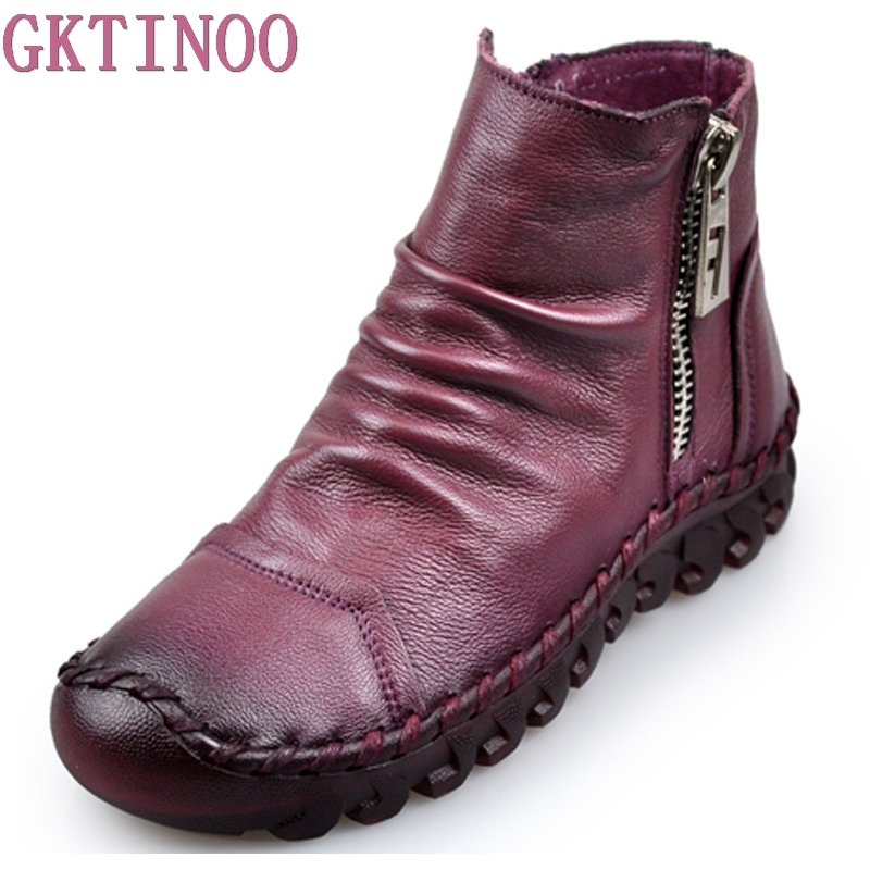 2018 Fashion Handmade Boots For Women Genuine Leather Ankle Shoes Vintage Women Shoes Round Toes Martin Boots tastabo 2017 fashion handmade boots for women genuine leather ankle shoes vintage mom women shoes round toes martin boots