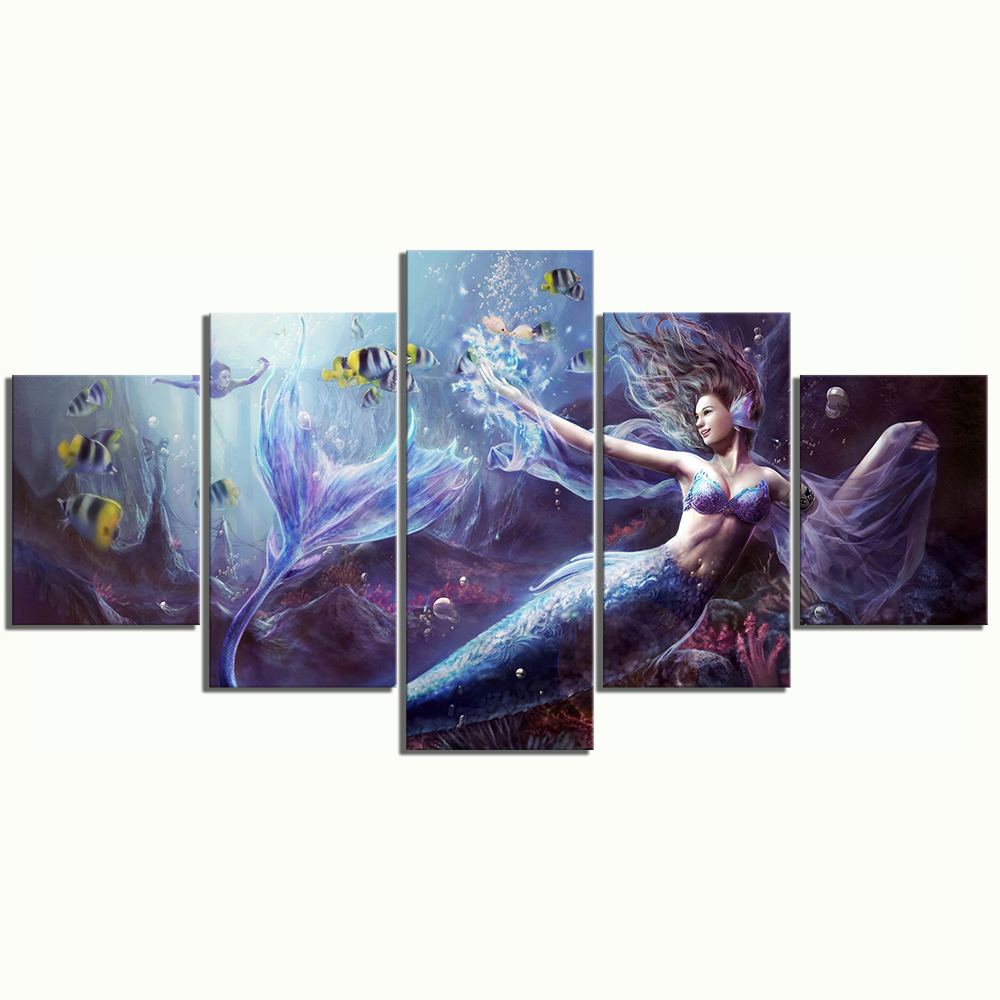 5 Piece Fantasy Art Paintings Legend of Mermaid HD Wall Picture Canvas Art for Home Decor 3