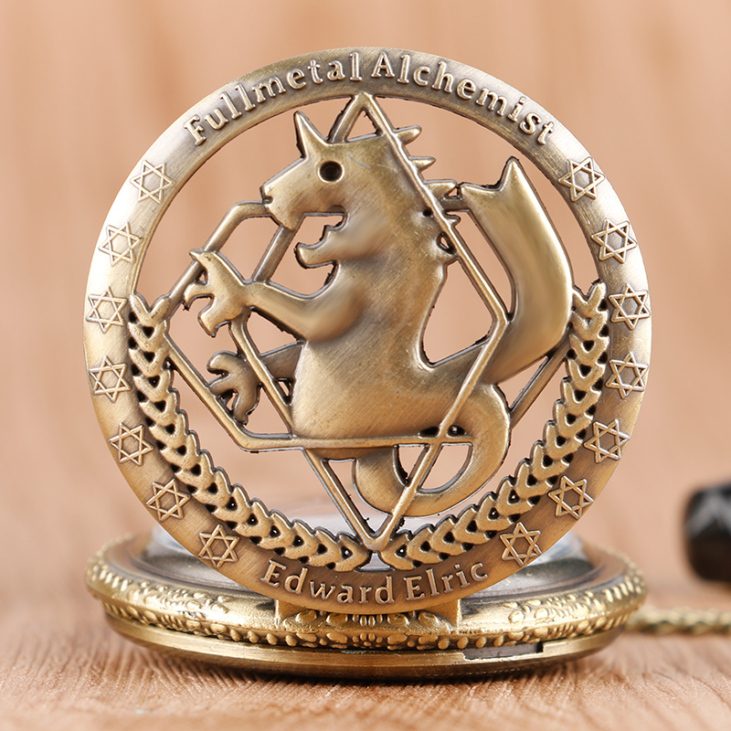 Hot Anime Fullmetal Alchemist Bronze Pocket Watch Classic Steampunk Children Quartz Clock Cartoon Best Gift
