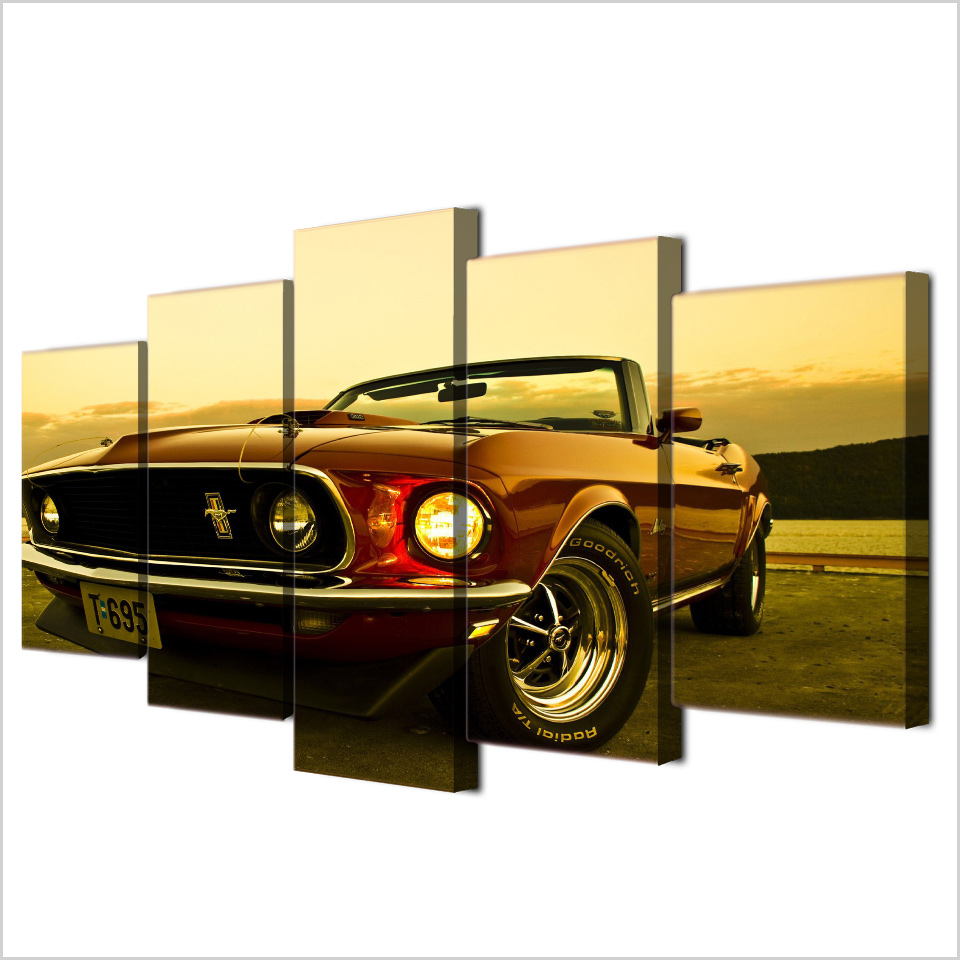 1969 Ford Mustang Car 5 Pieces Canvas Wall Art Poster Print Home Decor