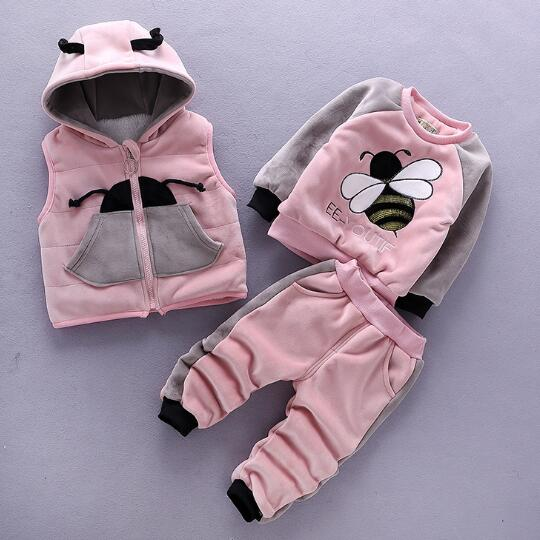 1-4Years Boys&Women Winter Garments Units,Ebroidered Bees Thermal Flush Hooded Vest+Thick T-shirt+Pants 3pcs Clothes Fits Clothes Units, Low-cost Clothes Units, 1 4Years Boys&Women Winter Garments Units,Ebroidered Bees Thermal Flush Hooded...
