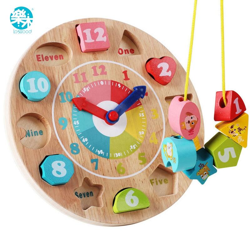 Mainan bayi, Mainan kayu, Jam kayu, Model blok bangunan nomor dan hewan manik-manik Monterssori belajar papan permainan pendidikan