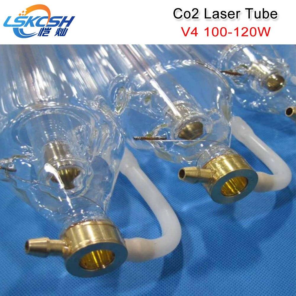 LSKCSH Co2 laser tube V4 100 w 120 w CO2 Laser Tube 1450mm longueur 80mm diamètre emballé dans caisse en bois avec Livraison fil connexion