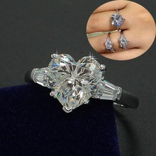 Виктория Вик сердце любовь Модные украшения 3ct AAAAA Циркон CZ обручальное кольца для женщин стерлингового серебра 925 женский кольцо