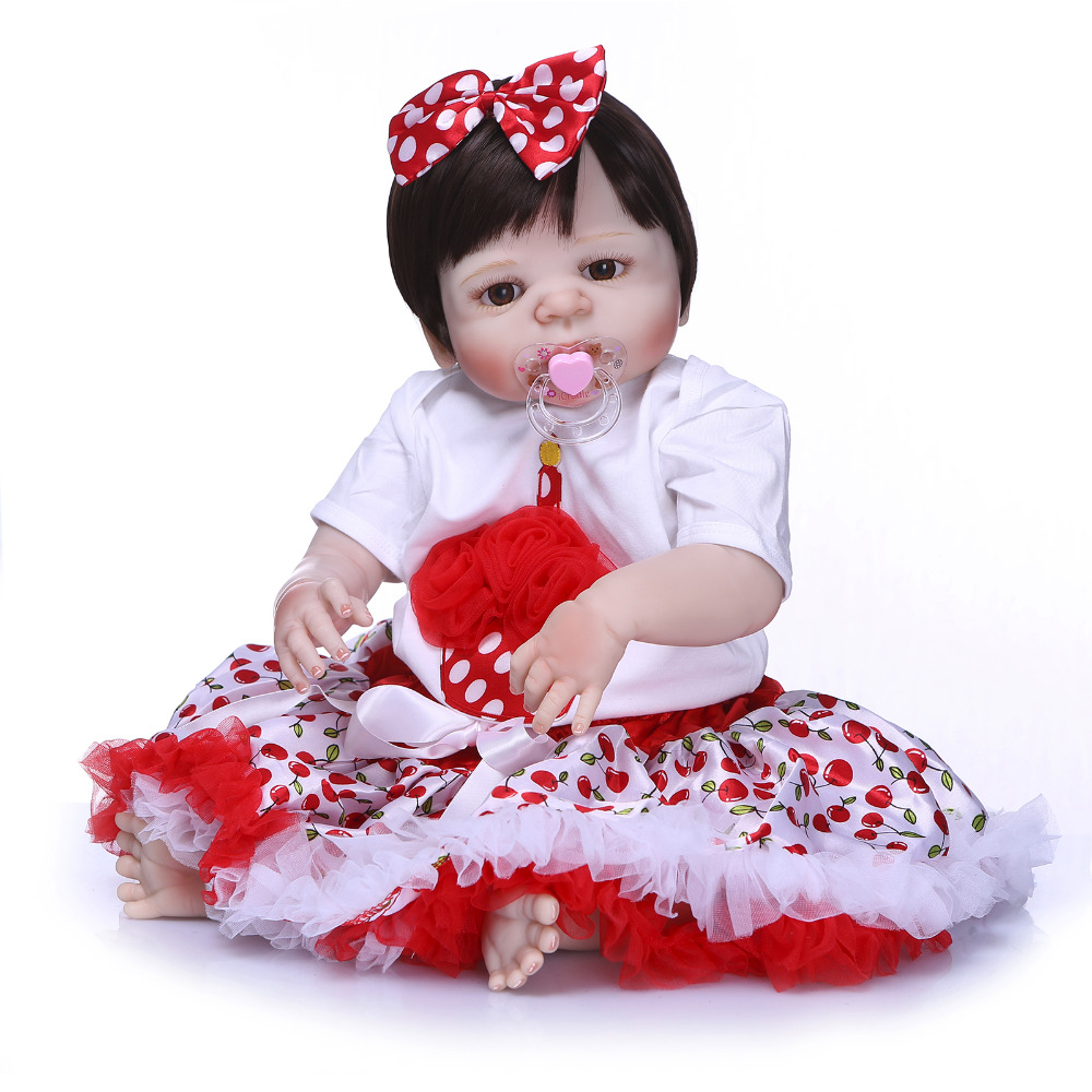 Nicery 22inch 55cm Bebe Reborn Doll Hard Silicone Boy Girl Toy Reborn Baby Doll Gift for Child Red Dress Baby Doll nicery 22inch 55cm bebe reborn doll hard silicone boy girl toy reborn baby doll gift for child purple dress blue eyes baby doll