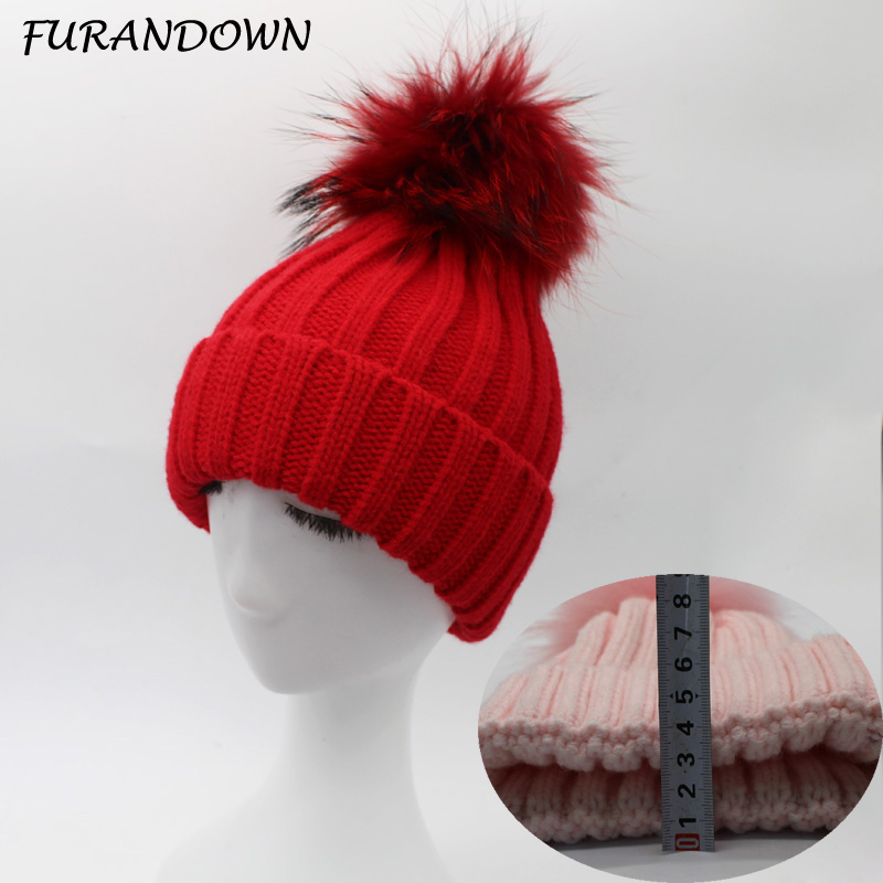 FURANDOWN Russian Fur Hat 2017 Winter Warm Thick Female beanies 15cm Dyed Raccoon Fur Pompom Hats For Women russian phrase book