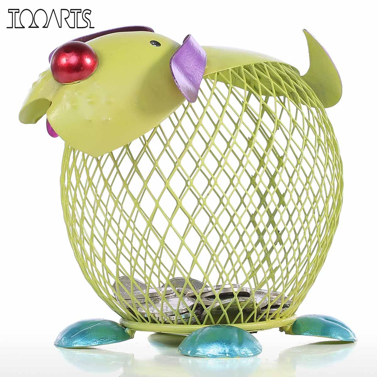 Tooarts Money Box Metal Green Puppy Money Bank Figurines Animal Piggy Bank Home Decor Craft Modern Home Decoration Accessories