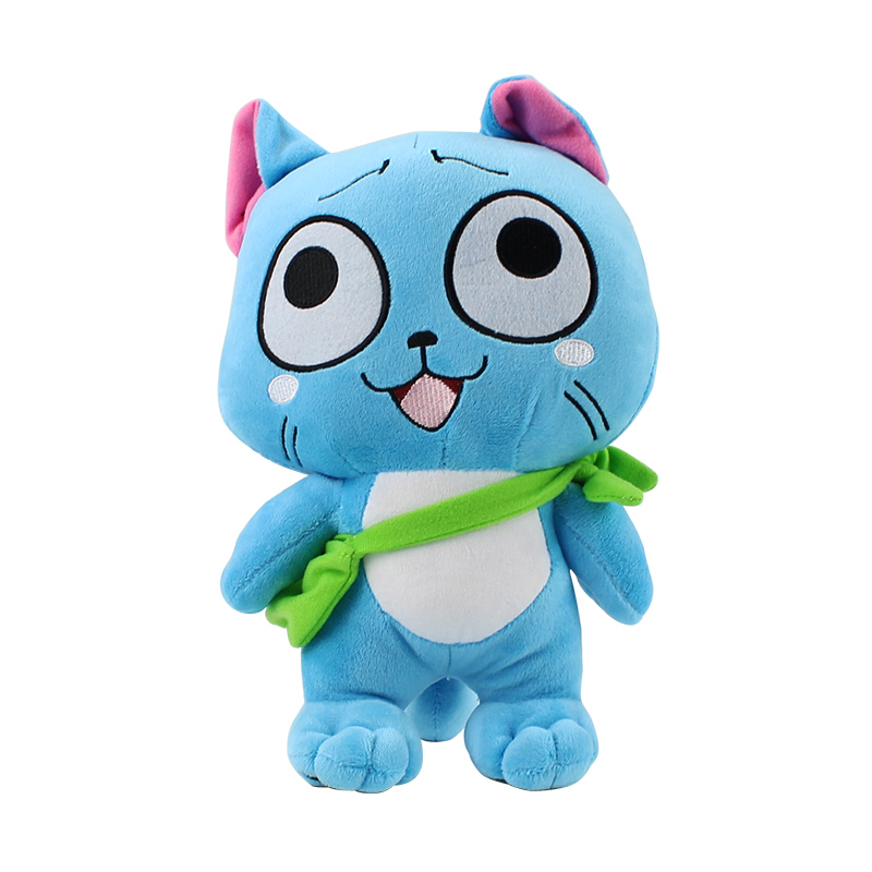 27cm New Fairy Tail Happy Plush Toys Cartoon Animal Blue Cat Standing Soft Plush Stuffed Doll Toys For Kids Gifts