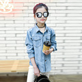 2017 New Spring Autumn Baby Kids Girls Cotton Denim Blouse & Shirt School Girls Basic Casual Long Sleeve Denim Shirts For 5-14Y