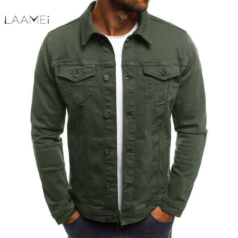 Laamei Men's Denim Jacket High Quality Fashion Jeans Jackets Slim Fit Casual Streetwear Vintage Men Jean Clothing Plus Size