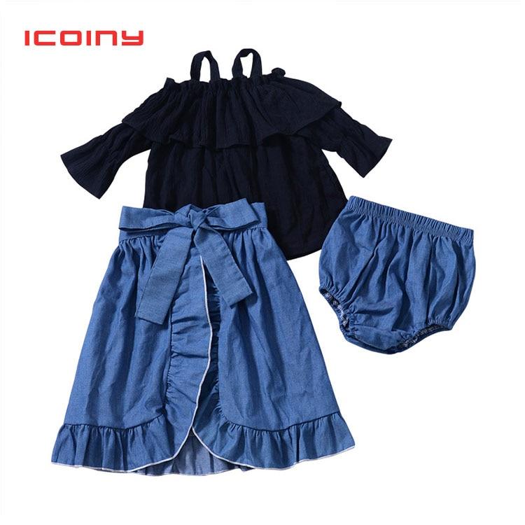 Детские летние комплекты одежды для маленьких девочек футболки с манжеткой укороченный топ + длинные макси юбки + шорты 3 шт./компл. детская п...