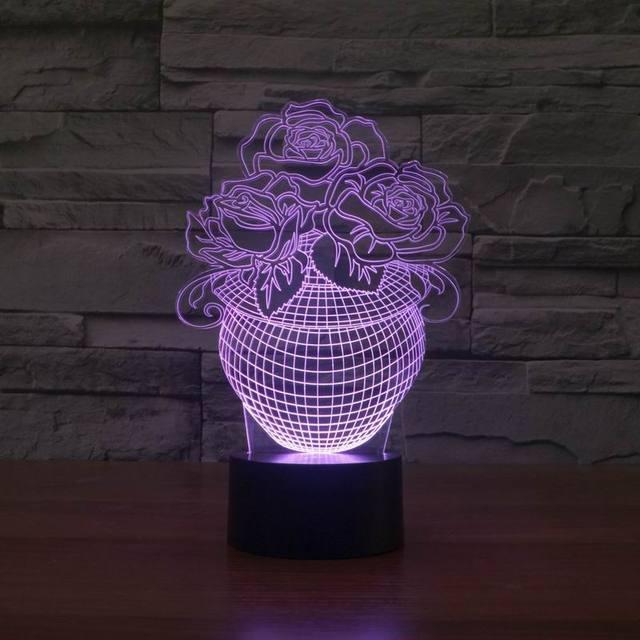 Envío libre 3d llevó la lámpara de mesa de luz de la noche con forma de flor como decoración