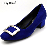 Comfortable Women Pumps 2016 New Style Square Toe Women Pumps Mid Heel Office Shoes Ladies Shoes