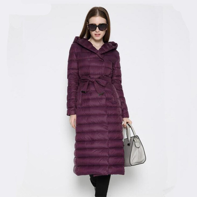 Fashion 2017 New Design Winter Ladies Duck Down Jackets Women Polka Parkas High Collar Long Winter Warm Casual Coat  Down-jacket